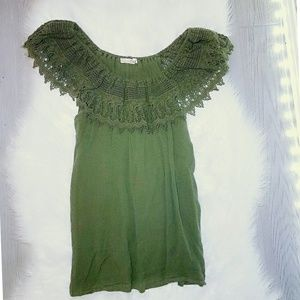 Tops - Army Green Lace Off The Sholder Top Shirt Large